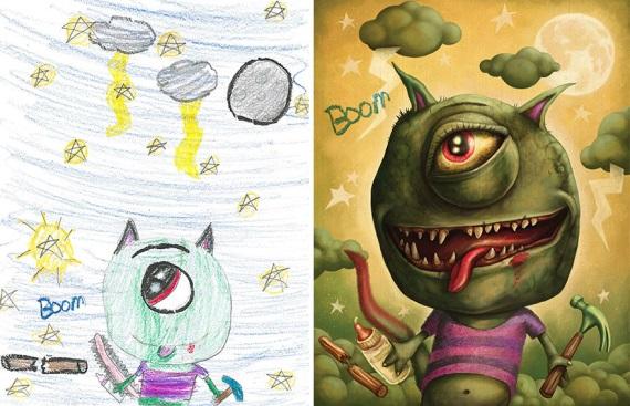 Detské kresby prepracované umelcami