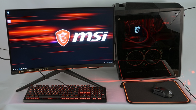 MSI Infinite X desktop + Optix MPG27CQ a Steelseries
