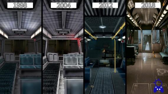 Porovnanie vylepšovania úvodnej scény z Half Life