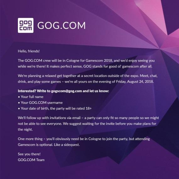 GOG naplánoval párty na Gamescom