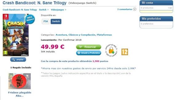 Španielsky predajca už berie predobjednávky na Crash kolekciu pre Switch