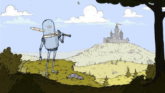 V titule Feudal Alloy sa železný robot poháňaný rybou preseká stredovekom