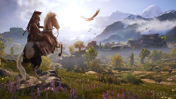 Ukážka streamingu Assassin's Creed Odyssey bežiaceho v internetovom prehliadači
