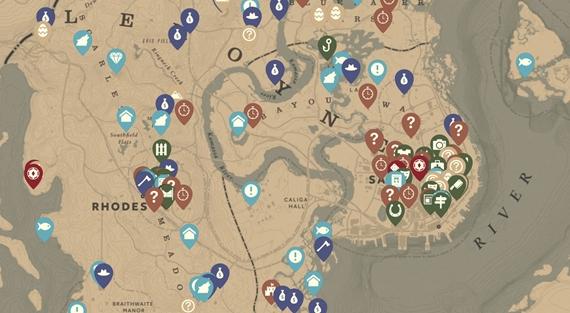 Interaktívna mapa Red Dead Redemption 2 prostredia