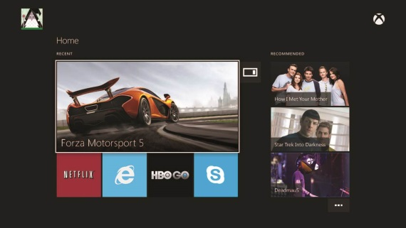 Ukážka Xbox One menu