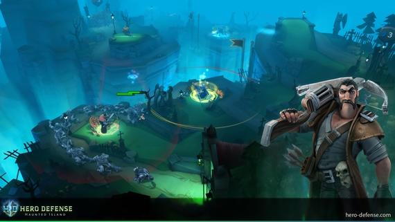 Päť odvážnych v hre Hero Defense bráni ostrov pred monštrami