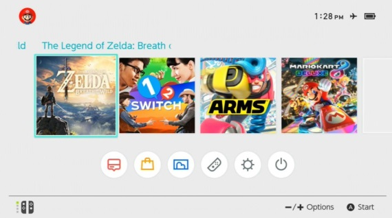 Ukážka hlavného menu Switch konzoly