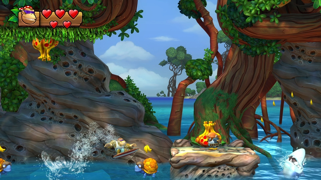Donkey Kong Country: Tropical Freeze Funkyho surf naberá na intenzite i efektivite aj na vode.